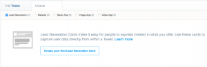 create first twitter lead generation card