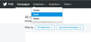 twitter ads menu