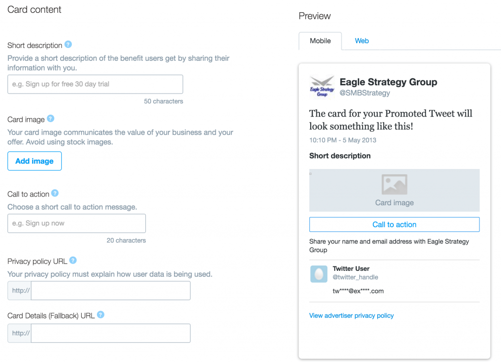 twitter lead generation card form